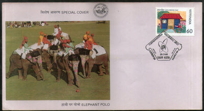 India 1988 Elephant Polo Sport Wildlife Animals Special Cover # 16217