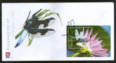 Namibia 2007 Dragonflies Blue basker Insect Animals Flowers M/s on FDC # 16394