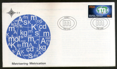 South Africa 1977 Metrication Introduction of Metric System Map FDC # 16507
