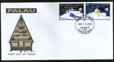 Palau 2002 Winter Olympic Games Salt Lake Skiing Sc 678-79 FDC # 16510