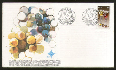 South Africa 1977 Int'al Symposium on Quality of Vintage Wine Glasses Grapes FDC # 16514