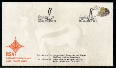 South Africa 1990 Int'al Congress Succulent Plant Flora Date Stamp Card #16532