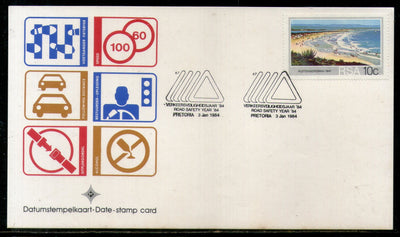 South Africa 1984 Road Safety Year Traffic Sign Transport Date Stamp Card #16533