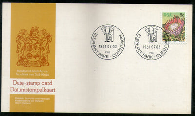 South Africa 1981 Elephant Park Wildlife Animals Date Stamp Card # 16537
