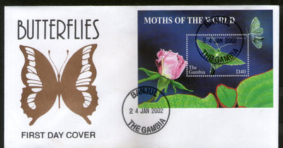 Gambia 2002 Moths Butterfly Rose Flower Insect Sc 2574 M/s FDC # 16583