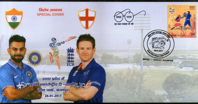 India 2017 England 1st T20 Cricket Match Virat Kohli Eion Morgan Special Cover # 18015