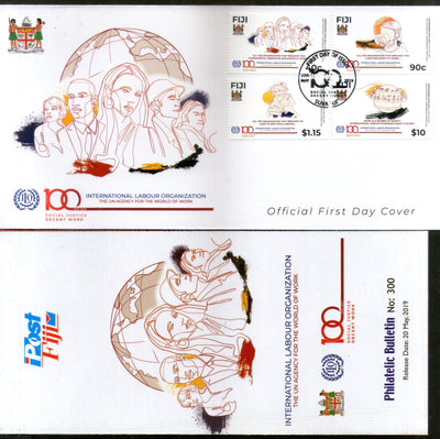 Fiji 2019 ILO Int'nal Labour Organization 4v FDC + Folder # 18362