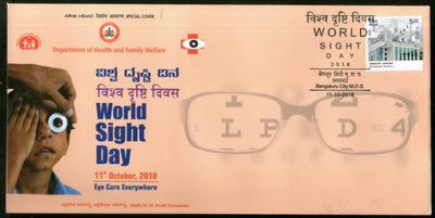 India 2018 World Sight Day Health Blindness Eye Care Special Cover # 18407