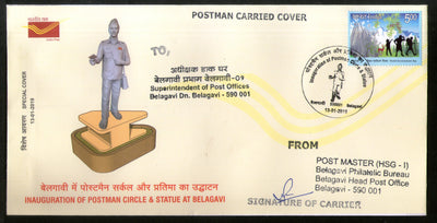 India 2019 Inauguration of Postman Circle Statue Carried Special Cover # 18521