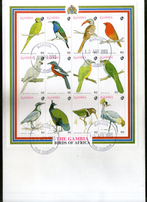 Gambia 1993 Birds Parrot Wildlife Animals Sc 1375 Sheetlet FDC # 19089