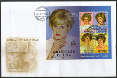 Micronesia 2007 Princess Diana Spencer Royal Family Sc 731 Sheetlet FDC # 19121
