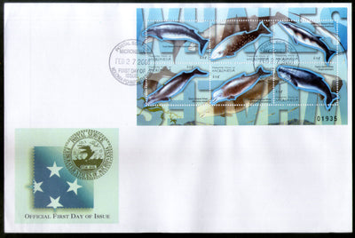 Micronesia 2001 Whales Fishes Marine Life Animals Sc 417 Sheetlet FDC # 19127