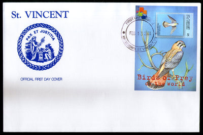 St. Vincent 2001 Birds of Prey Eagle Wildlife Sc 2880 M/s FDC # 19207