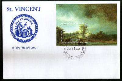 St. Vincent 2001 Stone Bridge Paintings by Rembrandt Art M/s Sc 2871 FDC # 19214