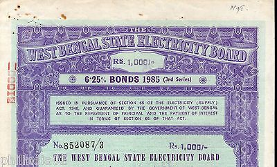 India 1985 West Bengal State Electricity Bonds 3rd Series Rs. 1000 # 10345P