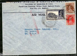 India 1938 KG VI Transport Multi Stamped Cover Bombay to United States # 1452-21