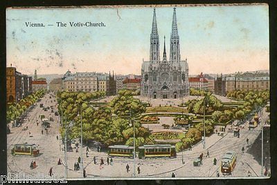 Austria 1912 Vienna Votiv Church Tramways View Picture Post Card to France #237