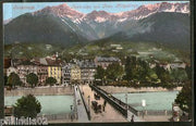 Austria 1907 Innsbruck Mountain River Bridge View Picture Post Card # 208