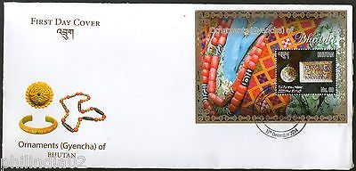 Bhutan 2014 Ornaments Gems & Jwellary Neckless Mineral M/s on FDC # 6733