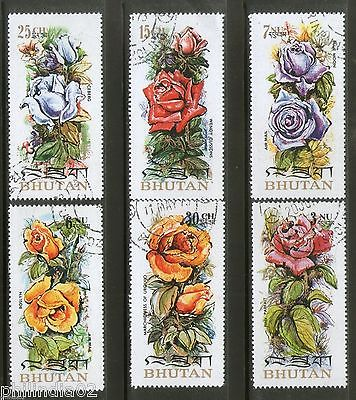 Bhutan 1973 Breeds of Roses Flower Tree Plant Sc 150-E 6v Cancelled # 2063