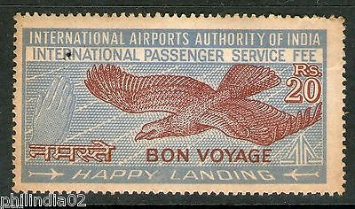 India Fiscal 20 Rs INTERNATIONAL PASSENGER SERVICE FEE Revenue Stamp Bird #3994