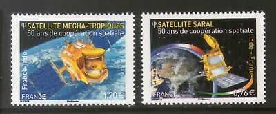 France 2015 India Joints Issue Cooperation in Space Satellite 2v MNH # 3497