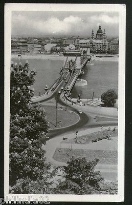 Hungary 1954 Budapest View of Chain Bridge View Picture Post Card to Finland #22