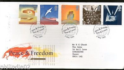 Great Britain 1995 Peace & Freedom Red Cross Dove Bird Hands 5v FDC # F76