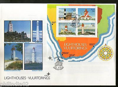 South Africa 1988 Lighthouses Architecture Map Sc 717a M/s on FDC # 15222