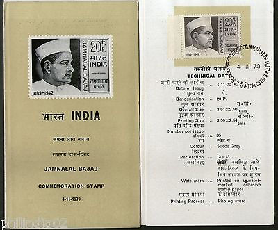 India 1970 Jamnalal Bajaj Phila-522 Cancelled Folder