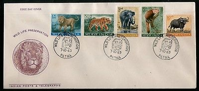 India 1963 Wild Life Preservation Lion Tiger Panda Elephant Ox Animals FDC #F392