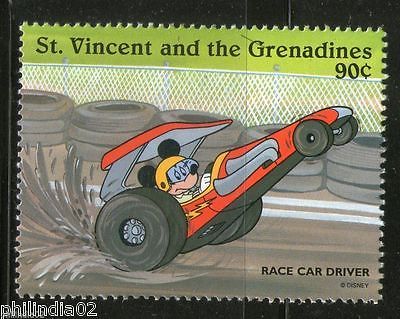 St. Vincent 1996 Sport Car Race Driver Mickey Mose Automobile DisneySc 2251i MNH
