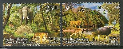 India 2015 Zoological Survey Wildlife Elephant Tiger Lion Peacock Deer 2v MNH