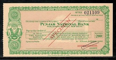 India Rs.200 Punjab National Bank Traveller's Cheques ' SPECIMEN ' RARE # 16221C