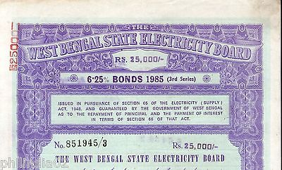 India 1985 West Bengal State Electricity Bonds 3rd Series Rs. 25000 # 10345R
