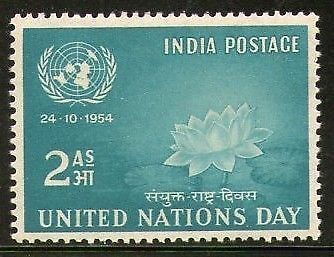 India 1954 United Nations Day Lotus Flower Phila-316 MNH