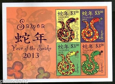 Samoa 2013 Chinese New Year of the Snake Zodiac Sign Reptile M/s Sc 1139 MNH #62