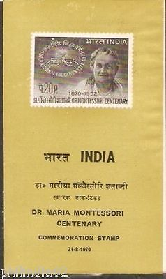India 1970 Dr. Maria Montessori Centenary Phila-515 Cancelled Folder