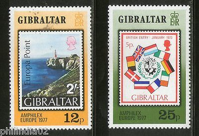 Gibraltar 1973 Flags of EEC Economic Community Lighthouse Sc 294-95 MNH # 4223