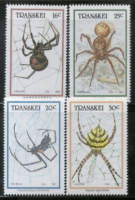 Transkei 1987 Spiders Insect Animals Wildlife Sc 191-94 MNH # 2626