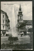 Austria 1921 Graz Bismarckplatz Fountain View Picture Post Card to Sweden #190