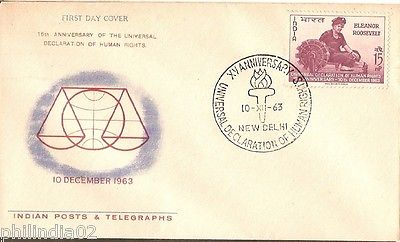India 1963 E. Roosevelt Human Rights Phila-394 FDC + Blank Folder
