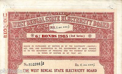 India 1985 West Bengal State Electricity Bonds 2nd Series Rs. 100000 # 10345O
