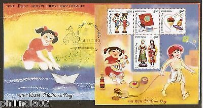 India 2010 Children's Day Doll Kite Top Phila-2649 M/s on FDC