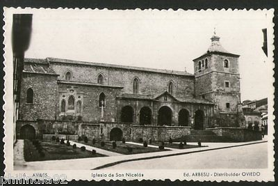 Spain 1960 Aviles Church of San Nicolás View Picture Post Card to Finland # 201