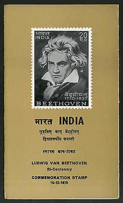 India 1970 Ludwig Van Beethoven Musician Phila-525 Cancelled Folder