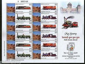 India 2011 My Stamp Full Steam Ahead Railway Agra Fort UNESCO Site Sheetlet MNH