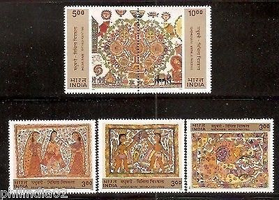 India 2000 Madhubani Painting Art Se-tenant Phila-1787-91 MNH 5v Complete Set