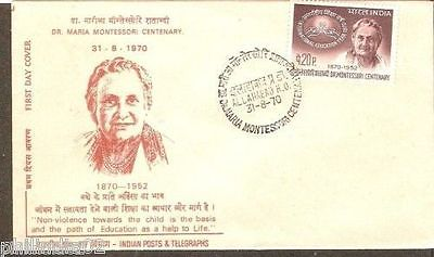 India 1970 Dr. Maria Motessori Centenary Phila-515 FDC