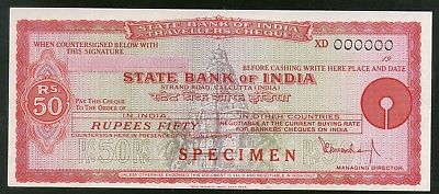 India Rs.50 State Bank of India Traveller's Cheques ' SPECIMEN ' RARE # 16131
